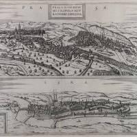 Pohled na Prahu a Cheb, F. Hogenberg, 1572